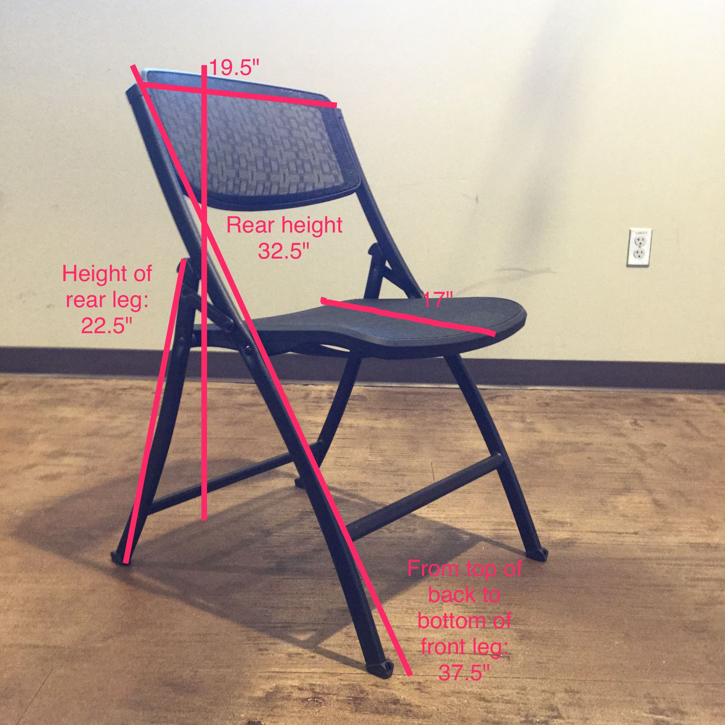 Folding chair with measurements